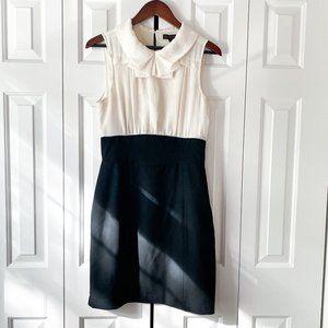 The Limited Black & Cream Chiffon Sleeveless Dress